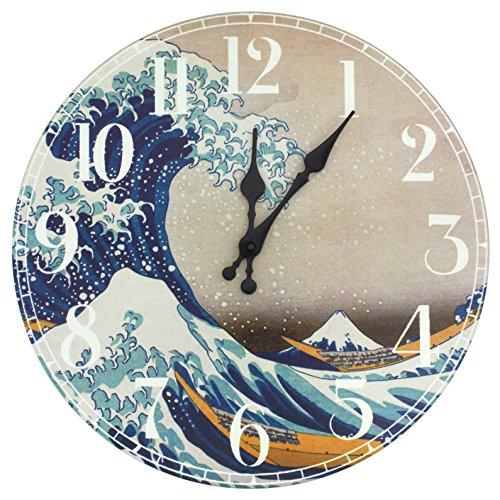 Oriental Furniture CAN-CLK-HOKU-A Great Wave Off Kanagawa Wall Clock