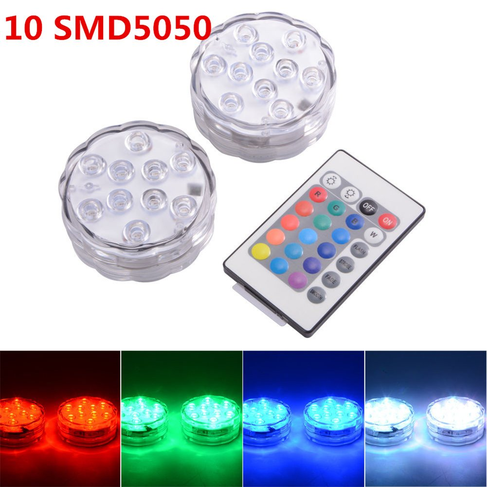 JINBEST 2PCS Remote Control Waterproof Lamp Submersible LED Lights for Fountain Pool Hot Tub Wedding Pond Decoration Centerpieces Vase Party