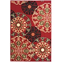Ottomanson Ottohome Collection Contemporary Damask Design Area Rug with Non-Skid (Non-Slip) Rubber Backing, Red, 50 x 66