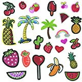 24 Pcs Embroidered Sew Iron On Applique Patches Solid Mixed Watermelon Cherry Pineapple Cactus Ice Cream Fruit Milk Banana Cocktail Cactus Shaped