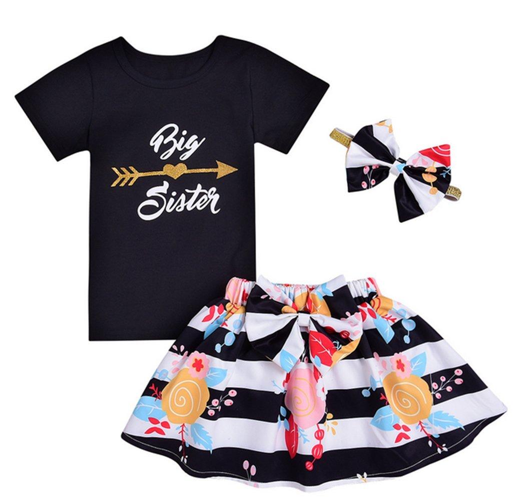 Summer 3Pcs Clothes Kids Girls Letter Arrows Print T-Shirt+Floral Striped Tutu Skirts+Headband Size 4-5T/Tag100 (Black)
