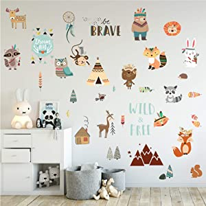 JesPlay Boho Animals & Nature Adhesive Wall Decals Wall Décor Stickers for Kids & Toddlers Include Wall Decals of Boho Style - Removable Wall Decor for Bedroom, Living Room, Nursery, Classroom