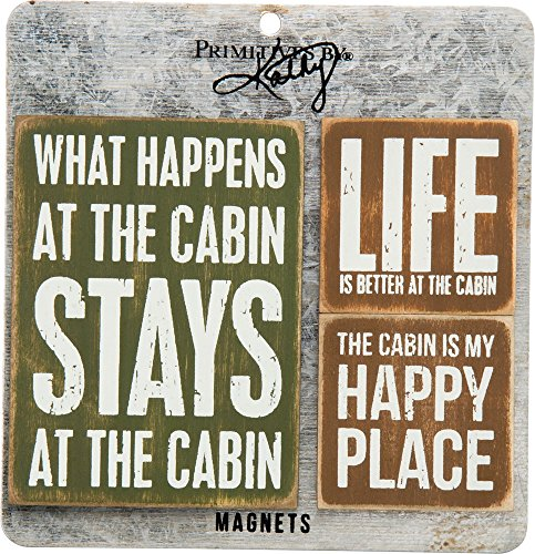 Cabin Life - Primitives By Kathy 27503 Wooden Magnet Set, 3-Piece, Cabin