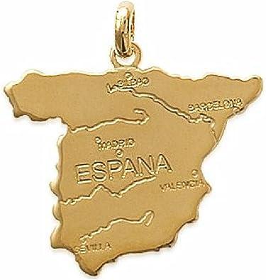 So Chic Joyas - Colgante España Mapa Chapado Oro 750: Amazon.es ...