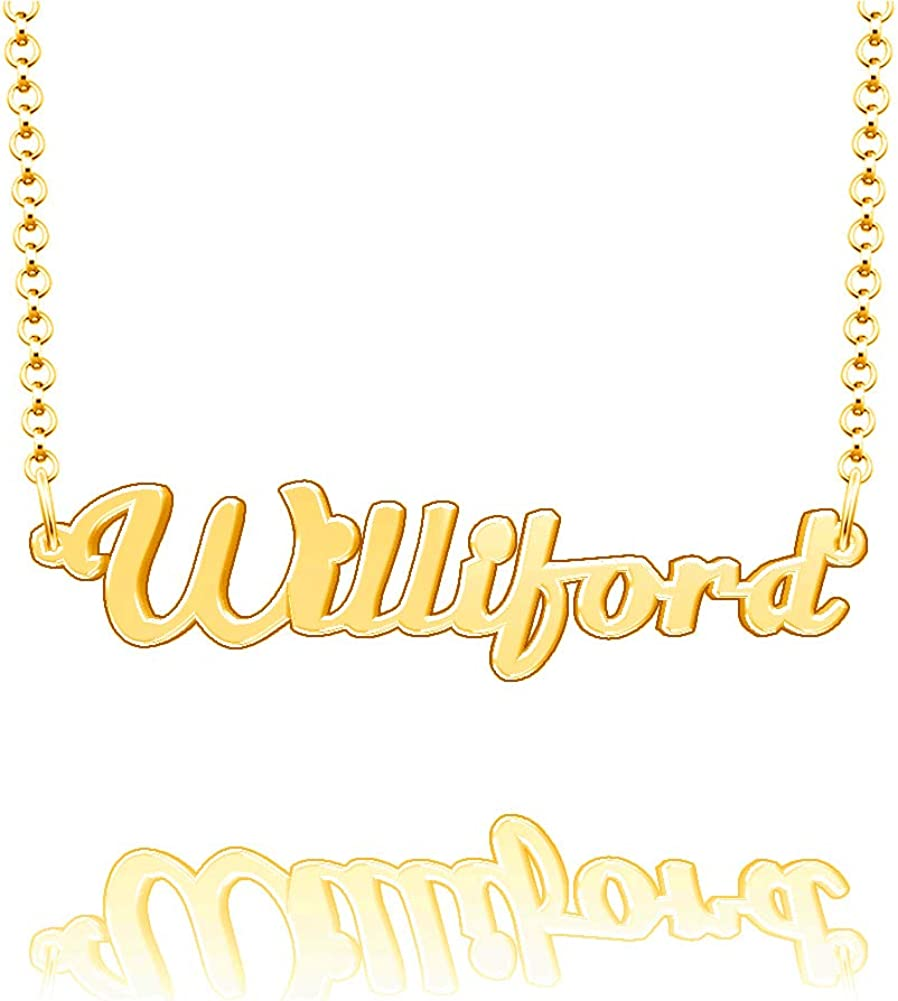 EV.YI Jewels Williford Custom Personalized Name Necklace Last Name Plate Pendant Gift for Family Mom Dad Friend Lover
