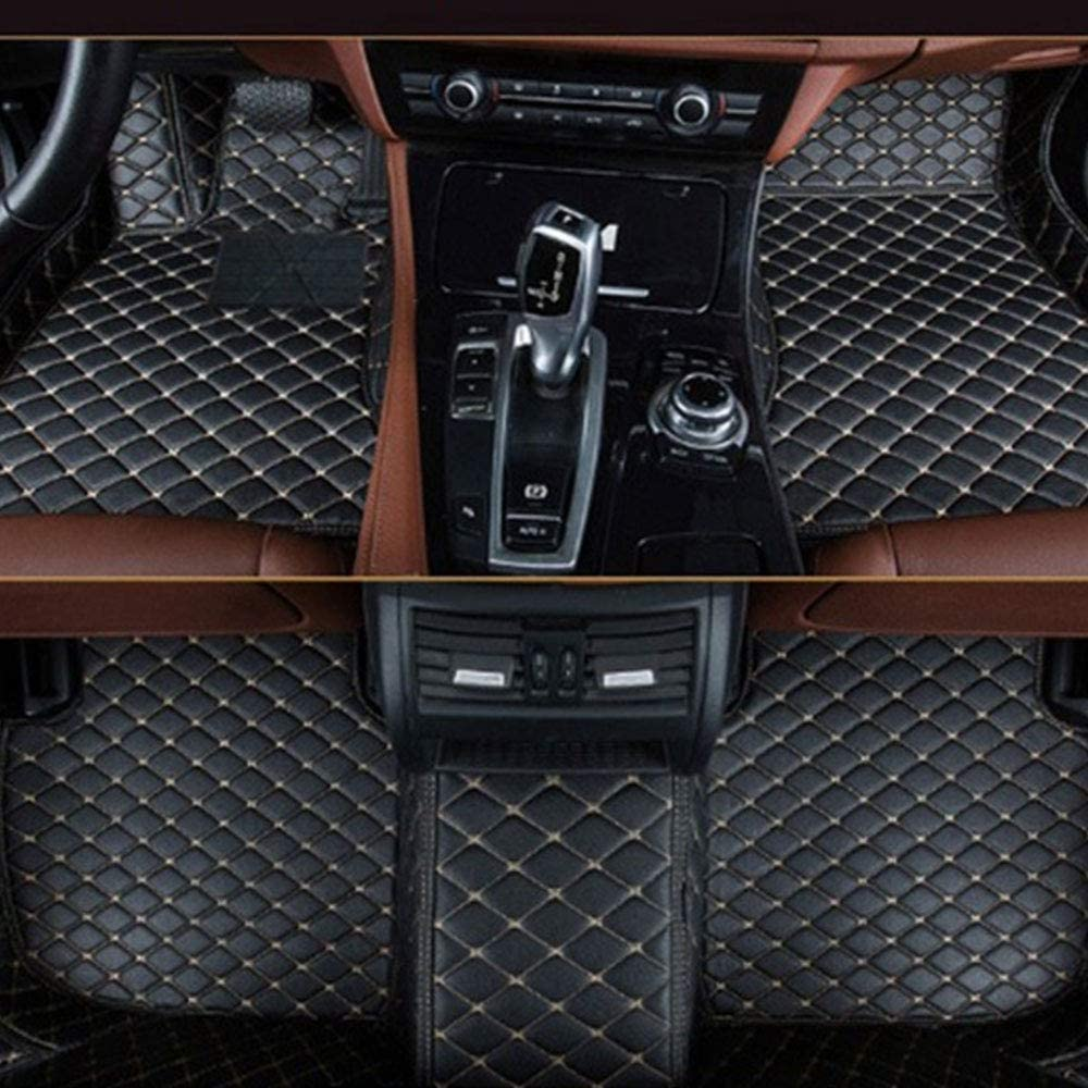 Muchkey Carpet Floor Mats Leather Car Mats Black Beige Car Floor Mats Fit for BMW 5 Series GT F07 535i 2014 2015 2016 2017