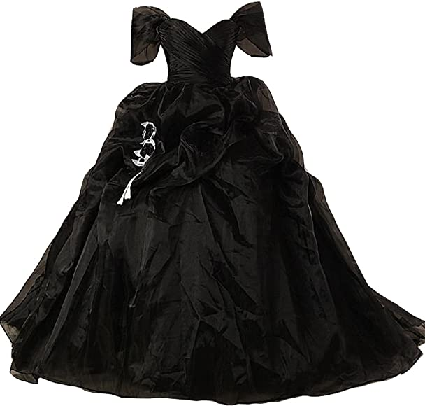 10cf285f50ca Lemai Vintage Black and White Ball Gown Off Shoulder Gothic Victorian  Wedding Dresses US 2