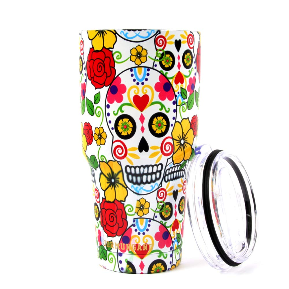 Jormungand Double Wall Travel Mug 30oz Tumbler 18/8 Stainless Steel Vacuum Cup Colorful Water Coffee Cup with Spill Proof Sliding Lid (30oz, fla01)