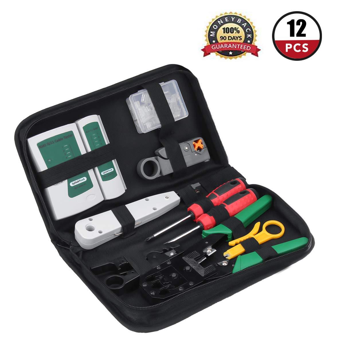 18pcs Professionnelle Maintenance Network Tools, GOCHANGE Kit de Réparation pour Câble (noir) Portable Outil Réparation