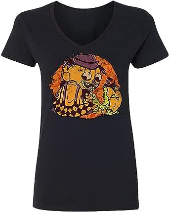 Hobby Mujer Calabaza Caníbal Horror Granjero Halloween Divertido Impreso Gráfico Novedad Vneck Camiseta: Amazon.es: Ropa y accesorios