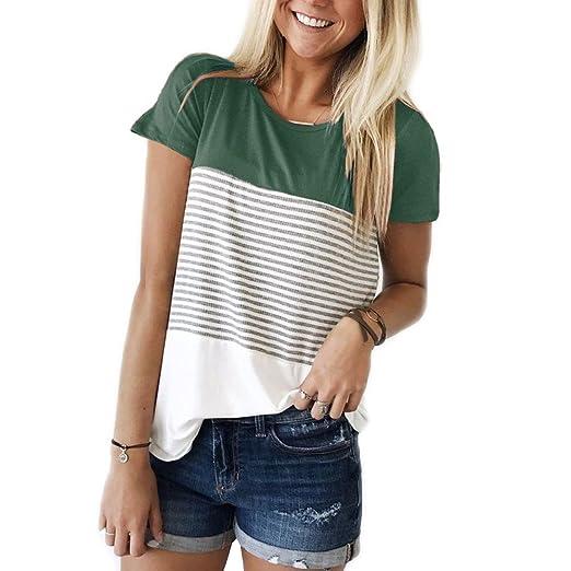 cf628a30a9cc3 THANTH Womens Short Sleeve T Shirts Round Neck Stripe Cotton Shirts Casual  Tops Tees