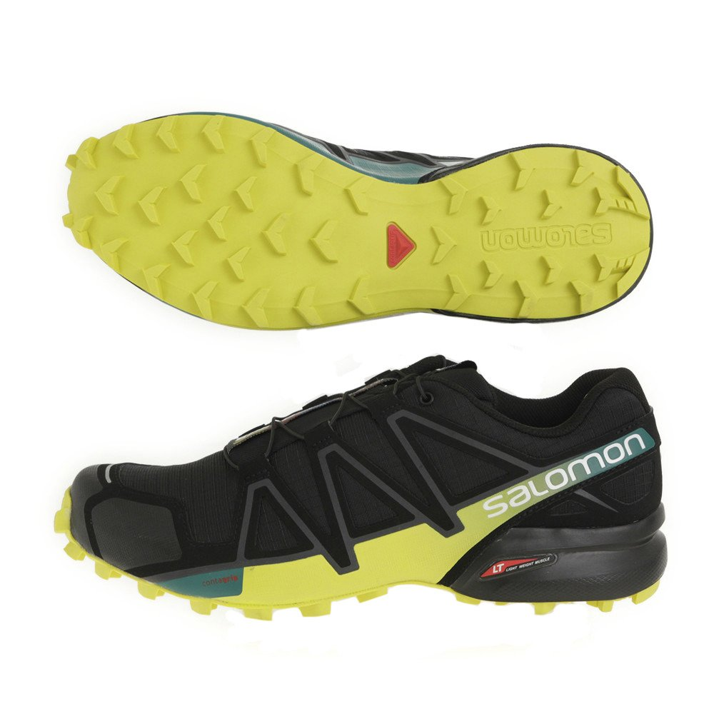 Salomon Herren Speedcross 4 Traillaufschuhe  9|0 BLACK/EVERGLADE/SULPHUR SPRI