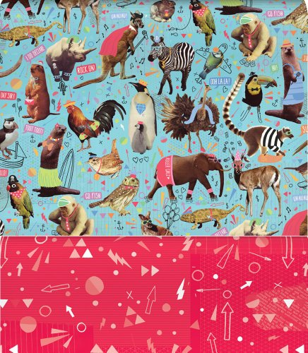 Animal Crackers Reversible Rolled Gift Wrapping Paper