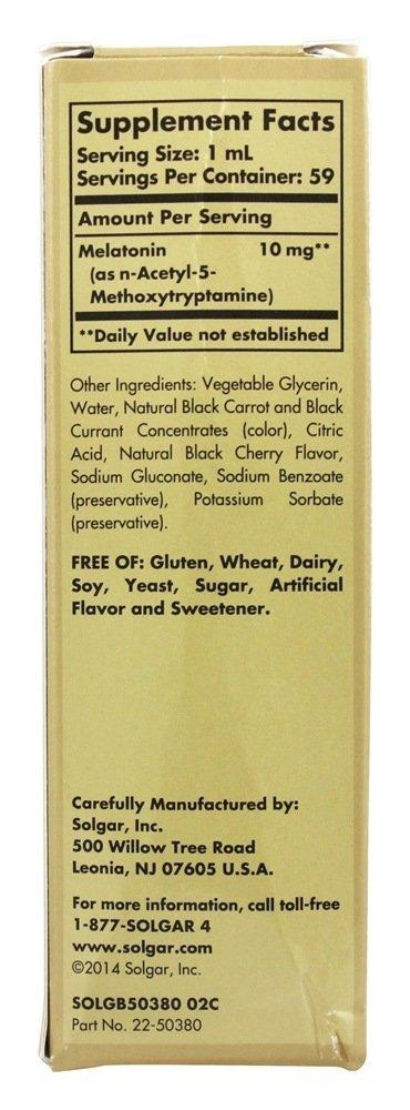 Amazon.com: Solgar – Liquid Melatonin 10 mg, 2 Oz, Natural Black Cherry Flavor - 2 Pack: Health & Personal Care