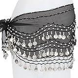 Lilyy Chiffon Dangling Silver Coins Belly Dance Hip Skirt Scarf Wrap Belt (Black)