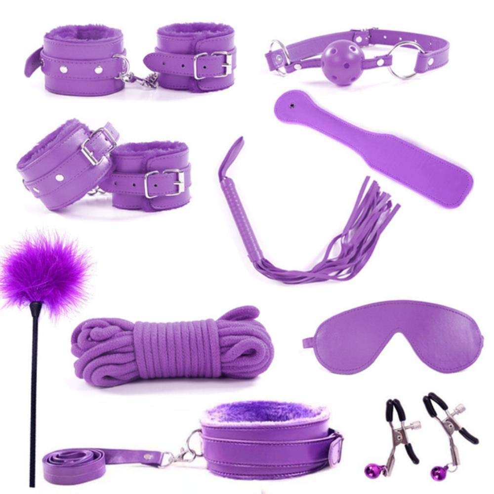 Craige 10 Piece Set New Sex Bondage Restraint Kit Games Erotic Toys Sexy Lingerie PU Leather Toys for Adults Handcuffs,Purple,Russian Federation