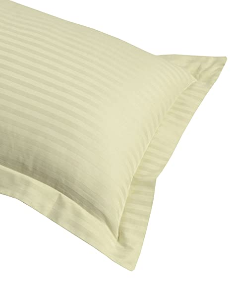 Homescapes White With Satin Stripe Ultrasoft Non - Twisted Yarn 100/% Egyptian Cotton Percale 330 Thread Count - KING SIZE Housewife Pillowcase Anti Dust Mite by Homescapes