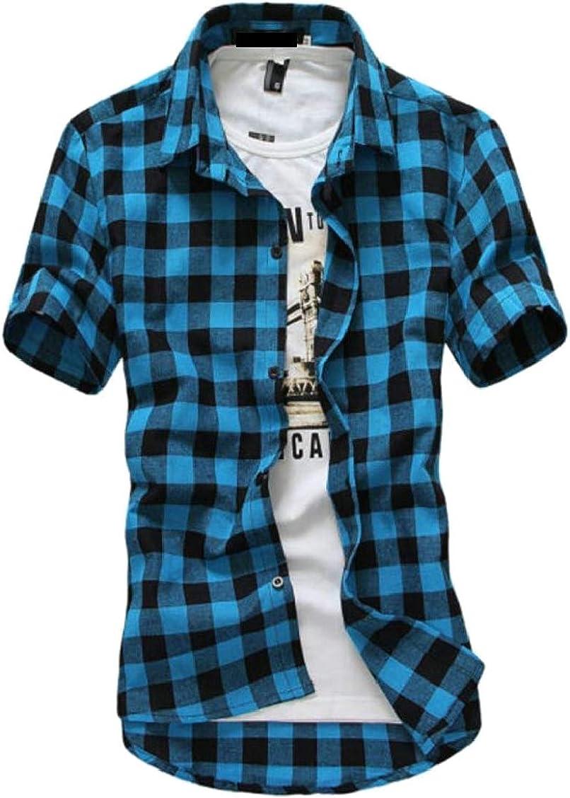 Hajotrawa Mens Turn Down Classic-fit Plaid Short Sleeve Tops Button Up Shirts