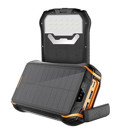 Cargador Solar con 26800mAh Power Bank Portátil, Soluser Batería Externa Impermeable 3 Carga Rápida Output Ports con Alta Eficiencia de Conversión ...
