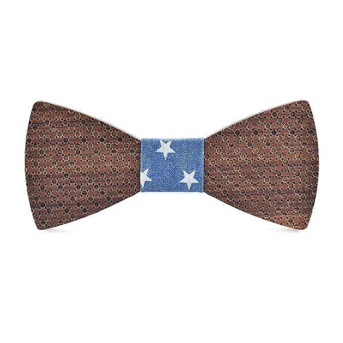 MJZHJD Pajarita for hombres, mujeres, corbata de madera, punto ...