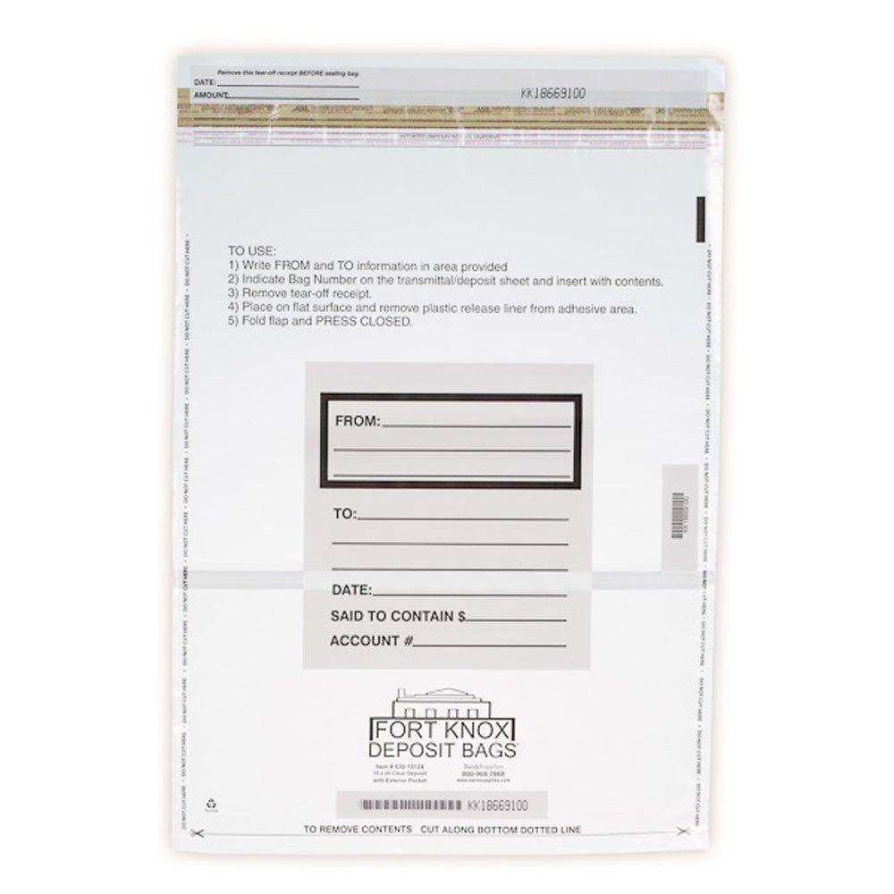 15W x 20H Clear Deposit Bags w/External Pocket - 100/Bx by BankSupplies