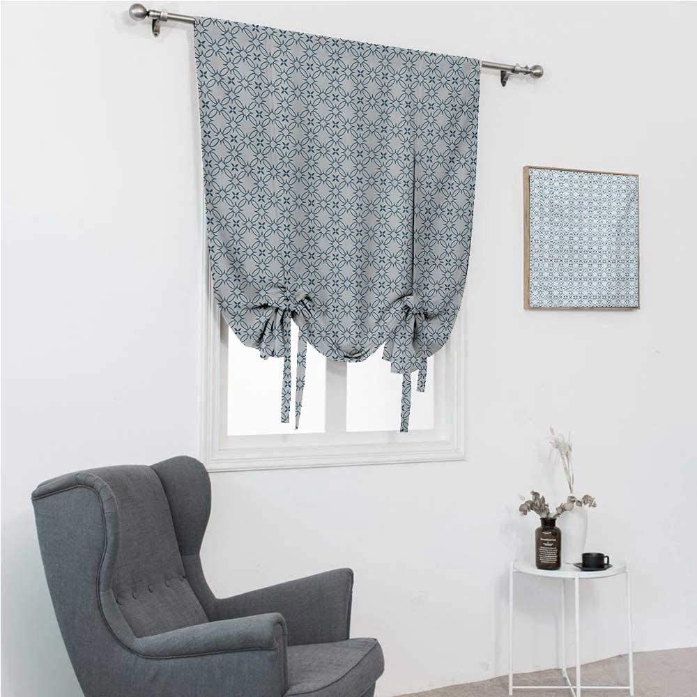 """Lush Decor Curtains Geometric Balloon Shades Window Treatment Valance Complex Optical Illusional Design with Vertical Nested Squares Chevron Zigzags 39"""" Wide by 64"""" Long Blue White"""