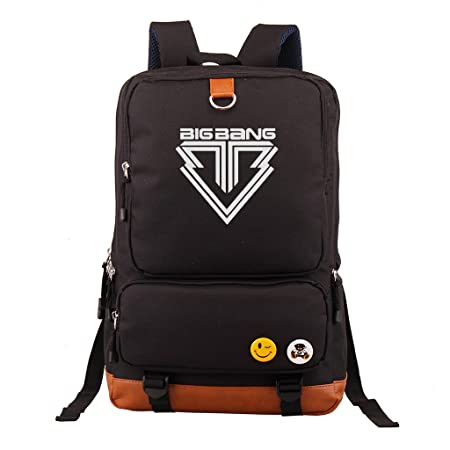 Fanstown Kpop Backpack Pencil case Set Canvas Messenger Bag Black EXO Shinee BTS VIXX EXO