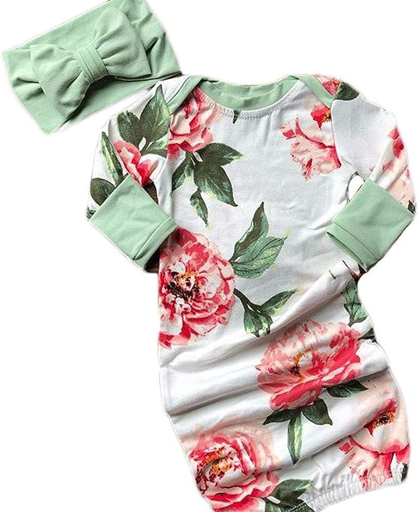 Newborn Baby Girl Boys Sleeping Gown Coming Home Outfit Floral Sleepwear Sleeping Bag 3 6 9 12 18 24M