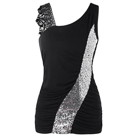 b5889203 Womens One Lace Shoulder Sleeveless Vest Tops, Kanpola ladies Glittering  Sequined Skew Collar Tank Top Racerback Ruched T Shirt Tunic Blouse:  Amazon.co.uk: ...