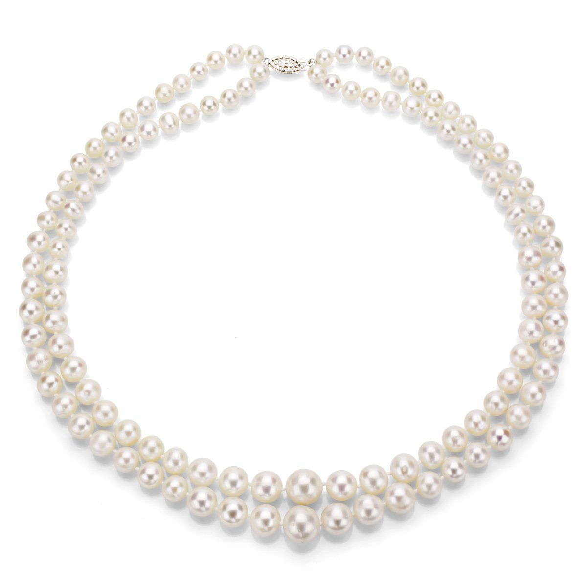 Sterling Silver Graduated 6-11mm White Freshwater Cultured Pearl 2-rows Necklace, 17''