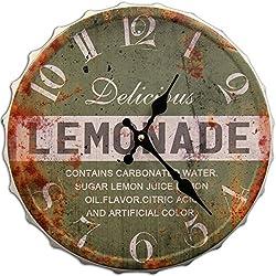 Round Decorative Metal Wall Clock Retro Antique Look Bottle Cap Lemonade 3D Quartz movement 13x13 inches