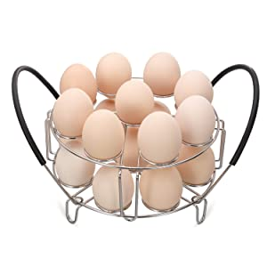 Aozita Multipurpose Stackable Egg Steamer Rack Trivet with Heat Resistant Silicone Handles Compatible for Instant Pot Accessories 6 Qt/8 Qt - 18 Egg Cooking Rack for Pressure Cooker Accessories