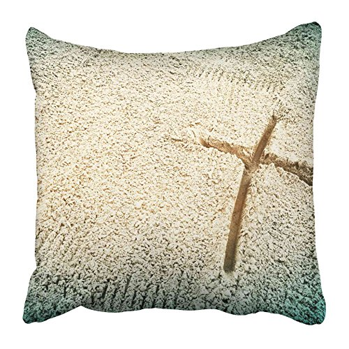 Emvency Decorative Throw Pillow Covers Cases Christian Symbol The Cross Drawn in Sand Discipleship Death Message Suffering Abstract Belief 16x16 inches Pillowcases Case Cover Cushion Two Sided -