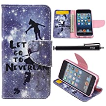 iPod Touch 5 Case, i Touch 6 Case Wallet, iYCK Premium PU Leather Flip Carrying Magnetic Closure Protective Shell Wallet Case Cover for iPod Touch 5/6 with Kickstand Stand - Lets Go To Neverland
