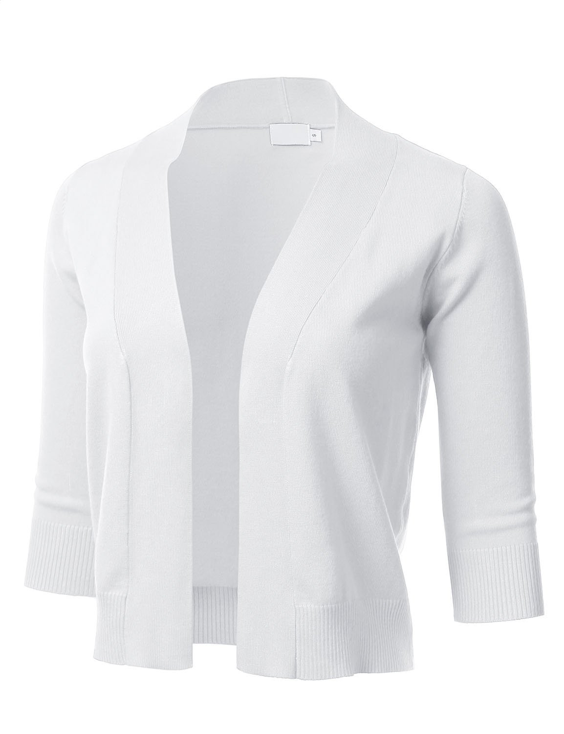 FLORIA Womens Classic 3/4 Sleeve Open Front Cropped Cardigan White M by FLORIA