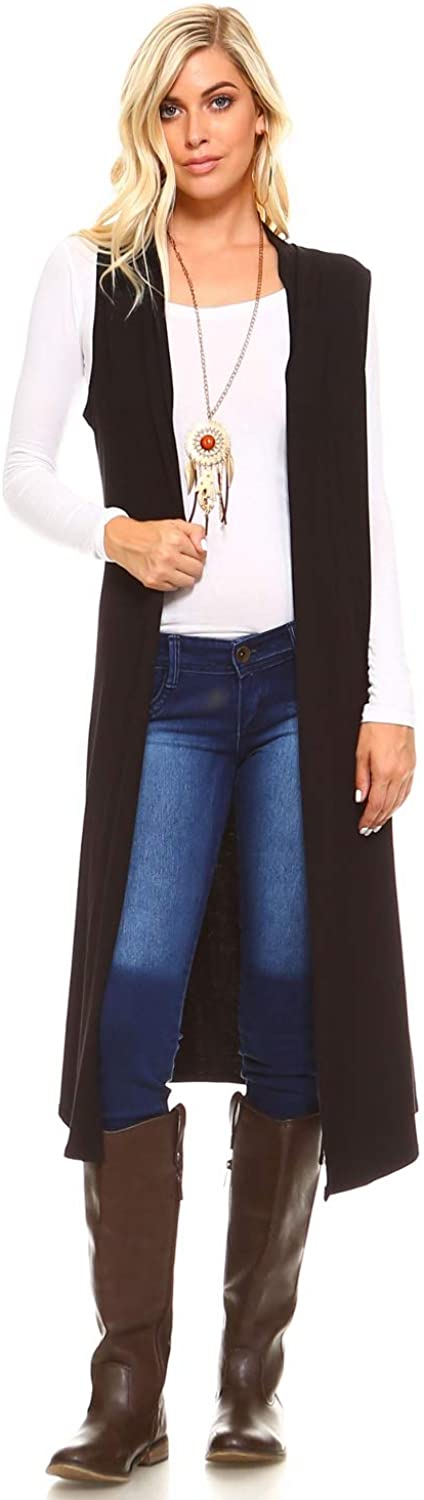 Isaac Liev Women's Sleeveless Cardigan – Casual Long Maxi Open Front Flowy Drape Lightweight Duster Vest Made in USA