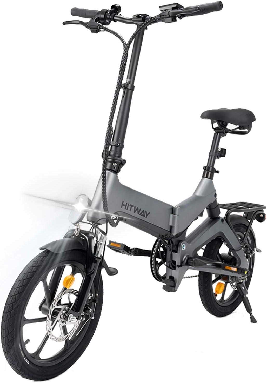 HITWAY Bicicletas eléctricas, Aleación de magnesio Bicicleta Plegable de 16 Pulgadas, luz Delantera LED, Batería de Litio 250 W, Frenos de Disco Dobles Delanteros y Traseros Bicicleta eléctrica