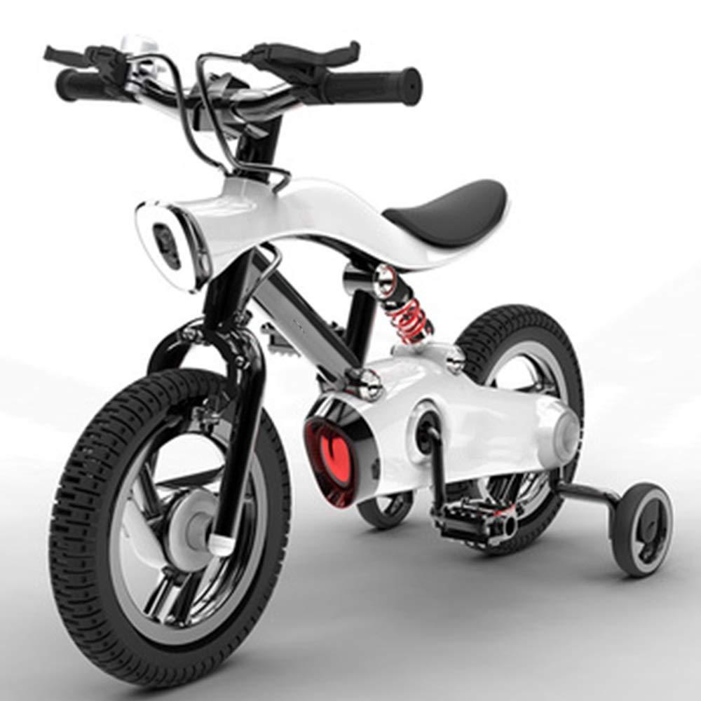 Axdwfd 子ども用自転車 子供用自転車高炭素鋼子供用自転車12/14インチ男の子と女の子のサイクリング、25歳の子供用ブルー 12in 白 B07PNZWR6L