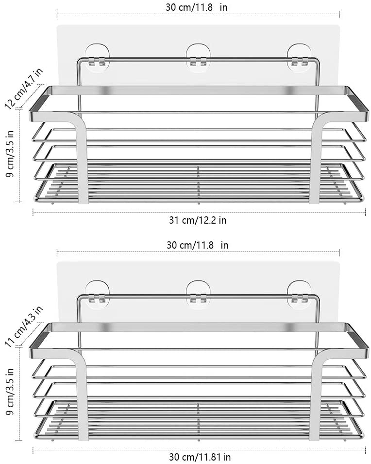 Oriware Adhesive Shower Caddy Organiser Basket Bathroom Shelf Storage Wall Steel