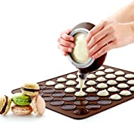 Macaron Making Set- 48 Capacity Macaron Silicone Baking Mat Mould Mode and Decorating Pen Icing Tips with 4 Nozzles (macaron set)