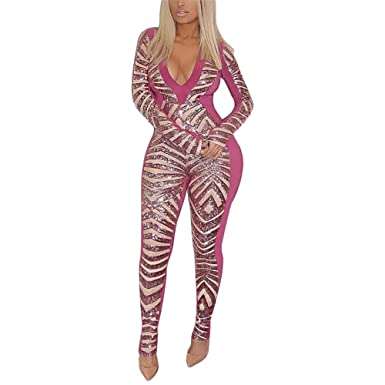 4d7bd63a8a1 Amazon.com  Women Elegant Long Sleeve V Neck Sequins Bodycon Jumpsuits  Rompers Sexy Clubwear  Clothing