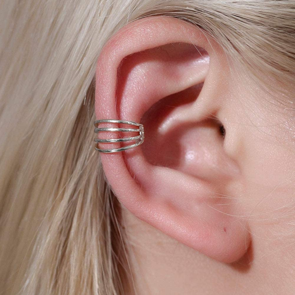 925 Sterling Silver Wide Helix Fake Cartilage Earring No Piercing Ear Ring Cuff