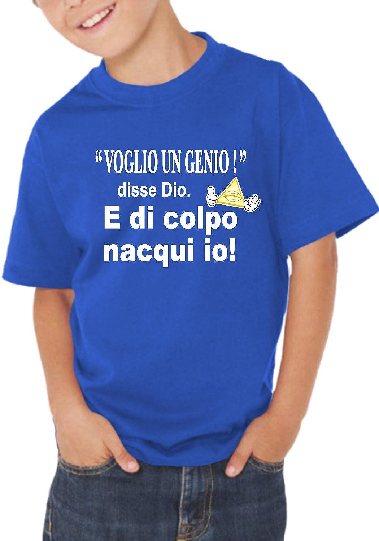 T-shirt bambino divertente VOGLIO UN GENIO - maglietta umoristica 100% cotone JHK_Fermento Italia