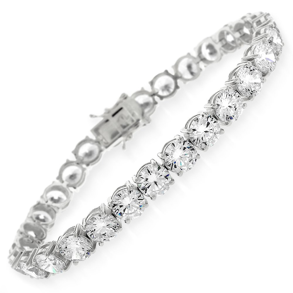 Sterling Silver 6mm Brilliant-Cut Clear Round CZ White Tennis Bracelet 6.5'', 7'', 8'' (7)