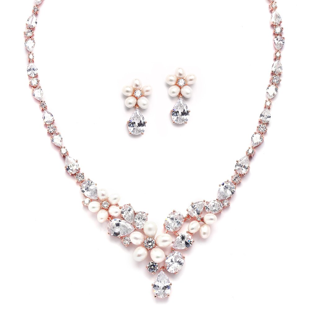 Mariell Cultured Freshwater Pearls & CZ Rose Gold Plated Wedding Necklace and Earrings Set for Brides