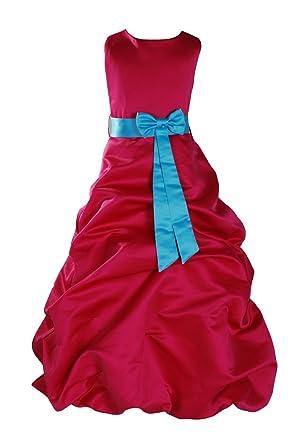 Cinda Cinda Mädchen Fuchsia Brautjungfer   Heilige Kommunion Kleid Kleider   Amazon.de  Bekleidung 043920c4fc