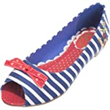 Banned Dancing Days Evie Navy Nautical Stripe Flat Peep Toe Shoes
