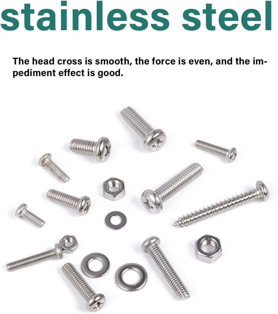 Bolt Nut Lock Stainless Steel Bolts Nuts Assortment kit BULYZER Phillips Cross Pan Head Machine Screws