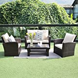 Outdoor Patio Furniture Set,Wisteria Lane 4 Piece Garden Rattan Sofa Wicker sectional Sofa Seat with Coffee Table,Brown