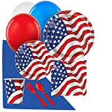 BirthdayExpress Patriotic USA 4th of July Party Supplies Pack for 16 with Balloons